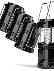 cheap -4 Pack Lanterns & Tent Lights Emergency Lights Waterproof LED LED 30 Emitters Manual Mode Waterproof Portable Camping / Hiking / Caving Black
