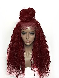 cheap -Synthetic Wig Synthetic Lace Front Wig Curly Minaj Layered Haircut Lace Front Wig Burgundy Long Light Brown Pink+Red Natural Black Black / Brown Burgundy Synthetic Hair Women's Heat Resistant Natural