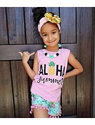 cheap -Toddler Girls' Active Street chic Daily Sports Pineapple Geometric Print Fruit Bow Tassel Print Sleeveless Regular Regular Cotton Clothing Set Blushing Pink