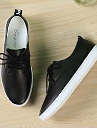 cheap -Women's Sneakers Flat Heel Leather Comfort Spring & Summer White / Black