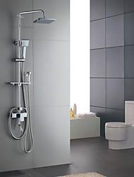 cheap -Shower Faucet - Contemporary Chrome Centerset Ceramic Valve Bath Shower Mixer Taps / Brass / Single Handle Three Holes