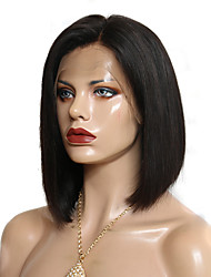 cheap -Remy Human Hair Full Lace Wig Bob Short Bob Side Part Kardashian style Brazilian Hair Straight Wig 130% Density with Baby Hair Natural Hairline Bleached Knots Women's Short Human Hair Lace Wig