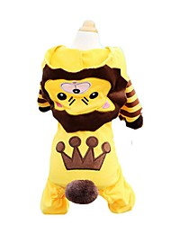 cheap -Dog Cat Pets Shirt / T-Shirt Sweater Hoodie Striped Patterned Cartoon One Piece Sweet Style Dog Clothes Yellow Costume Cotton XXS XS S M L