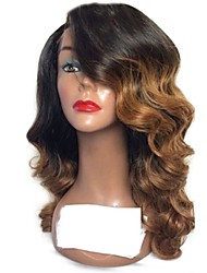 cheap -Remy Human Hair Lace Front Wig Layered Haircut Rihanna style Brazilian Hair Wavy Auburn Wig 130% Density with Baby Hair Ombre Hair Dark Roots Women's Short Medium Length Long Human Hair Lace Wig Aili