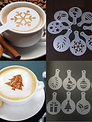 cheap -8pcs Christmas Coffee Stencil Mold Cappuccino Chocolate Cake Sprayer