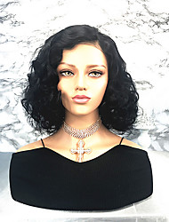 cheap -Remy Human Hair Lace Front Wig Bob Side Part style Brazilian Hair Curly Wig 130% Density Women's Short Human Hair Lace Wig beikashang