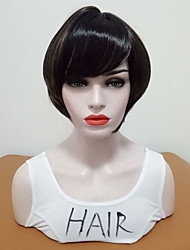 cheap -Synthetic Wig Straight Side Part Wig Short Black / Brown Synthetic Hair Women's Women Highlighted / Balayage Hair With Bangs Brown