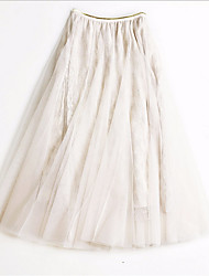 cheap -Women's Daily / Going out Cute / Active / Tutus A Line / Swing Skirts - Solid Colored Mesh / Tulle / Long Low Waist Black Blushing Pink Beige One-Size