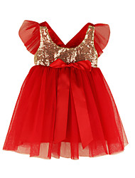 cheap -Toddler Girls' Christmas Party Going out Patchwork Christmas Sequins Short Sleeve Above Knee Dress Black / Cotton / Cute