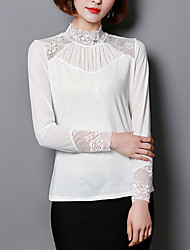 cheap -Women's Basic Butterfly Sleeves T-shirt - Solid Colored Lace Stand