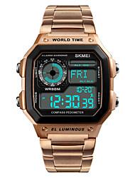 Недорогие -SKMEI Муж. Спортивные часы электронные часы Японский Цифровой Нержавеющая сталь Черный / Серебристый металл / Золотистый 50 m Защита от влаги Будильник Секундомер Цифровой На каждый день Мода -