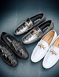 cheap -Men's Loafers & Slip-Ons Dress Shoes Casual Daily Office & Career PU Wear Proof White Black Silver Fall