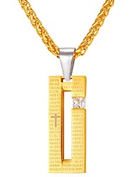 cheap -Diamond Cubic Zirconia Pendant Necklace Geometrical Foxtail chain Fashion faith Stainless Steel Gold Black 55 cm Necklace Jewelry For Daily
