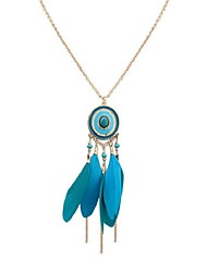 cheap -Cubic Zirconia Pendant Necklace Chain Necklace Long Necklace Thick Chain Feather Ladies Vintage Ethnic Fashion Resin Feather Alloy Dark Blue Rose Red Light Blue 70 cm Necklace Jewelry For School Date