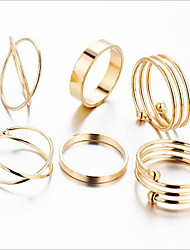 cheap -Women's Band Ring Ring Set Midi Rings 6pcs Gold Metal Alloy Circle Geometric Ladies Vintage Party Holiday Jewelry Elephant