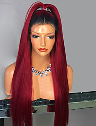 cheap -Synthetic Lace Front Wig Straight Minaj Side Part Lace Front Wig Burgundy Long Black / Burgundy Synthetic Hair Women's with Baby Hair Heat Resistant Ombre Hair Burgundy Modernfairy Hair