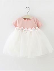 cheap -Baby Girls' Basic Color Block Short Sleeve Cotton Dress Blushing Pink / Toddler