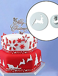 cheap -2pcs Christmas EIK Fondant Cake Mold Cookie Cutter Kitchen Bake Tool