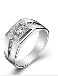 cheap -Men's Band Ring Cubic Zirconia Silver S925 Sterling Silver Classic Fashion Daily Ceremony Jewelry