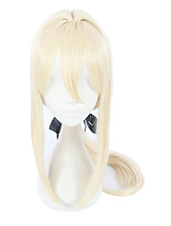 cheap -Synthetic Wig Straight Asymmetrical Wig Blonde Long Light golden Synthetic Hair Women's Cosplay Blonde