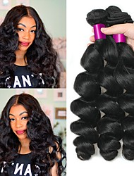 cheap -3 Bundles Indian Hair Loose Wave Human Hair Unprocessed Human Hair Natural Color Hair Weaves / Hair Bulk Hair Care Bundle Hair 8-28 inch Natural Color Human Hair Weaves Fashionable Design Smooth Thick