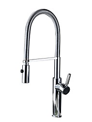 cheap -Kitchen faucet - Single Handle One Hole Chrome / Nickel Brushed Pull-out / ­Pull-down / Standard Spout Deck Mounted Contemporary Kitchen Taps