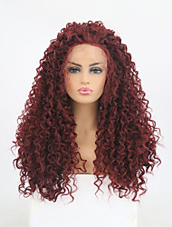 cheap -Synthetic Lace Front Wig Curly Minaj Layered Haircut Lace Front Wig Burgundy Long Burgundy Synthetic Hair Women's Heat Resistant Burgundy