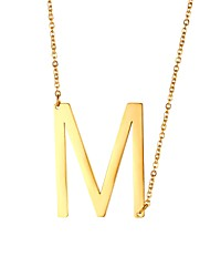 cheap -Men's Pendant Necklace Name Alphabet Shape Fashion Steel Stainless Black Gold Silver 51 cm Necklace Jewelry 1pc For Gift Daily