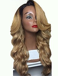 cheap -Remy Human Hair Full Lace Wig Layered Haircut Beyonce style Brazilian Hair Body Wave Blonde Wig 130% Density with Baby Hair Ombre Hair Dark Roots Natural Hairline 100% Hand Tied Women's Long Human
