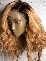 cheap -Human Hair Lace Front Wig Bob Side Part style Brazilian Hair Wavy Body Wave Multi-color Wig 250% Density with Baby Hair Party Women Natural Hairline 100% Virgin Women's Medium Length Human Hair Lace
