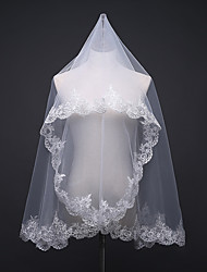 cheap -One-tier Fashionable Jewelry / Flower Style / Mesh Wedding Veil Shoulder Veils with Scattered Bead Floral Motif Style 59.06 in (150cm) POLY / Tulle / Oval