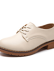 cheap -Women's Flats Flat Heel Round Toe Cowhide Casual Walking Shoes Spring &  Fall / Spring Brown / Black / Beige