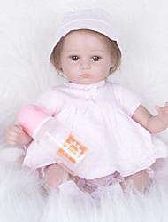 cheap -FeelWind Reborn Doll Girl Doll Baby Girl 16 inch lifelike Hand Made Child Safe Non Toxic Parent-Child Interaction Hand Rooted Mohair Kid's Girls' Toy Gift / Artificial Implantation Brown Eyes