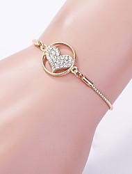 cheap -Women's Cubic Zirconia Chain Bracelet Chandelier Heart Ladies Classic Vintage Fashion Rhinestone Bracelet Jewelry Gold For Daily Work