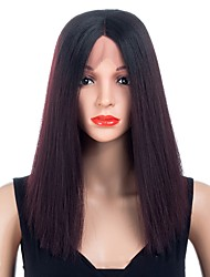 cheap -Synthetic Wig Synthetic Lace Front Wig Straight Middle Part Lace Front Wig Ombre Short Black#1B Dark Wine Synthetic Hair Women's Synthetic Best Quality New Arrival Black Ombre Laflare / Doll Wig