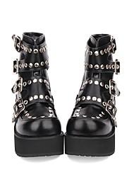 cheap -Women's Lolita Shoes Boots Punk Lolita Punk Wedge Heel Shoes Solid Colored 8 cm Black PU(Polyurethane) Halloween Costumes