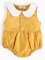 cheap -Baby Girls' Active Solid Colored Sleeveless Cotton Bodysuit Yellow