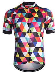 cheap -21Grams Men's Short Sleeve Cycling Jersey Sky Blue Purple Orange Plaid / Checkered Bike Jersey Top Mountain Bike MTB Road Bike Cycling Breathable Quick Dry Back Pocket Sports Coolmax® 100% Polyester