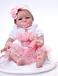 cheap -FeelWind Reborn Doll Girl Doll Baby Girl 22 inch Vinyl - Newborn lifelike Eco-friendly Gift Cute Child Safe Kid's Girls' Toy Gift / Hand Applied Eyelashes / Non Toxic / Parent-Child Interaction