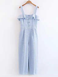 cheap -Women's Daily Basic Strap Light Blue Wide Leg Jumpsuit Onesie, Striped S M L Sleeveless Summer