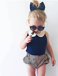 cheap -Baby Girls' Casual / Active Daily / Holiday Solid Colored / Striped Sleeveless Regular Clothing Set Navy Blue / Toddler