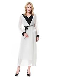cheap -Women's Midi Maternity White Black Dress Spring Daily Work Swing Abaya Jalabiya Color Block M L