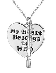 cheap -Women's Pendant Necklace Broken Heart Heart Ladies Vintage Fashion Alloy Silver 45+5 cm Necklace Jewelry 1pc For Daily Street