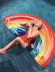 cheap -Rainbow Inflatable Pool Floats PVC Durable Swimming Water Sports for Adults 180*90*20 cm