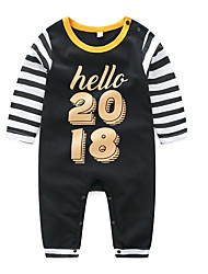 cheap -Baby Boys' Basic Daily Patchwork Printing Long Sleeve Cotton Romper Black / Toddler