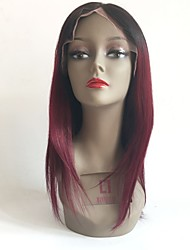 cheap -Remy Human Hair Lace Front Wig Layered Haircut Rihanna style Brazilian Hair Straight Burgundy Wig 130% Density with Baby Hair Ombre Hair Dark Roots Women's Long Human Hair Lace Wig Aili Young Hair
