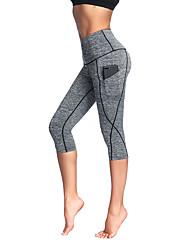 cheap -Women's High Waist Yoga Pants Side Pockets Capri Leggings 4 Way Stretch Breathable Anatomic Design Stripes Black Grey Rough Black Spandex Non See-through Zumba Running Fitness Plus Size Sports