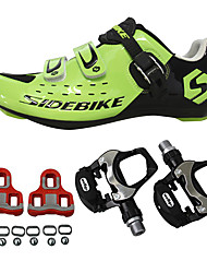 cheap -SIDEBIKE Cycling Shoes With Pedals & Cleats Road Bike Shoes Nylon and Carbon Fiber Rubber Cycling / Bike Cushioning Breathable Mesh PU(Polyurethane) Green / Black