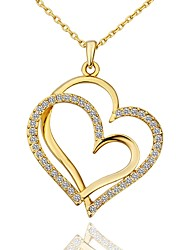 cheap -Women's Cubic Zirconia tiny diamond Pendant Necklace Mother Daughter Heart Ladies Fashion Gold Plated Rose Gold White Gold 45+5 cm Necklace Jewelry 1pc For Gift Daily