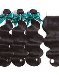 cheap -3 Bundles with Closure Peruvian Hair Wavy Remy Human Hair 100% Remy Hair Weave Bundles 345 g Natural Color Hair Weaves / Hair Bulk Human Hair Extensions 8-22 inch Natural Color Natural Black Human
